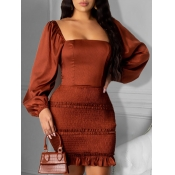 Lovely Sweet Square Collar Backless Brown Mini Dre