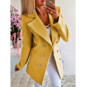 Lovely Formal Turndown Collar Button Design Yellow