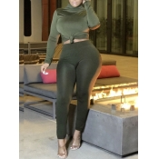 Lovely Chic Turtleneck Basic Skinny Green Two Piec