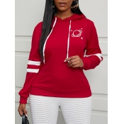 Lovely Chic Star Print Striped Red Hoodie