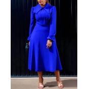 Lovely Work Turndown Collar Fold Design Blue Mid C