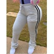 Lovely Leisure Striped Drawstring Grey Pants