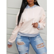 Lovely Casual Hooded Collar Stitching Pink Hoodie