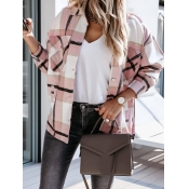 Lovely Casual Dropped Shoulder Sleeve Plaid Print