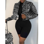 Lovely Casual Leopard Print Patchwork Black And Wh