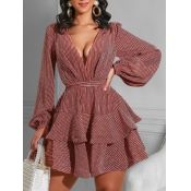 Lovely Sweet Lace-up Layered Cascading Red Mini A