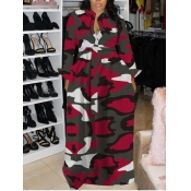 Lovely Casual Turndown Collar Camo Print Red Maxi