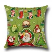 Lovely Trendy Santa Claus Tree Print Green Decorat