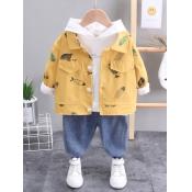Lovely Casual Fish Print Patchwork Yellow Boy Two
