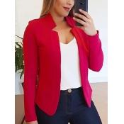 Lovely Formal Basic Skinny Red Blazer
