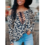 Lovely Chic Leopard Print Bandage Hollow-out Desig