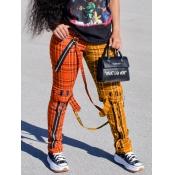 Lovely Casual Plaid Print Patchwork Orange Pants