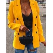 Lovely Formal Button Pocket Design Yellow Blazer