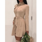 Lovely Formal Lace-up Pocket Design Khaki Leather