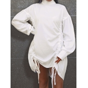 Lovely Casual Fold Design Drawstring White Mini Dr