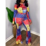 Lovely Ethnic O Neck Color-lump Patchwork Flared Multicolor Two Piece Pants Set