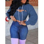 Lovely Casual Hooded Collar Hollow-out Blue Hoodie