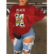 Lovely Street Card Print Patchwork Red Hoodie