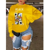 Lovely Street Card Print Patchwork Yellow Hoodie