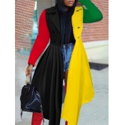 Lovely Stylish Turndown Collar Ruffle Design Patchwork Yellow Trench Coat