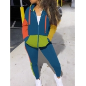 Lovely Sportswear Hooded Collar Color-lump Patchwo