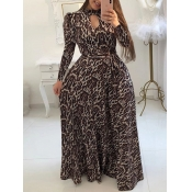 Lovely Trendy Leopard Print Hollow-out Lace-up Flo