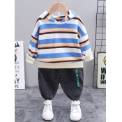 Lovely Casual Hooded Collar Striped Patchwork Blue