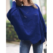Lovely Casual O Neck Hollow-out Blue Plus Size Swe