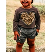 Lovely Casual Heart-shaped Leopard Print Brown Gir