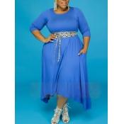 Lovely Casual Pocket Design Loose Blue Ankle Lengt