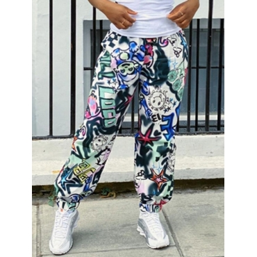 Lovely Street Print Multicolor Pants
