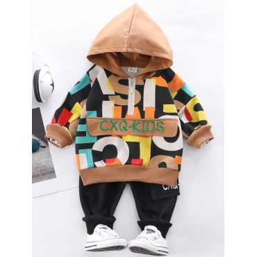 Lovely Casual Hooded Collar Letter Print Brown Boy