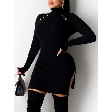 Lovely Trendy Turtleneck Buttons Design Black Mini