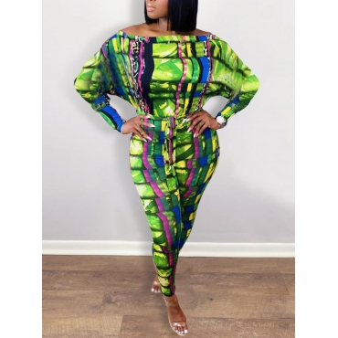 Lovely Casual Print Green One-piece Jumpsuit