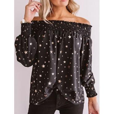 Lovely Stylish Puffed Sleeve Star Print Black Blou