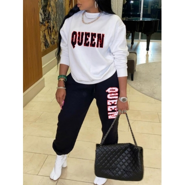 Lovely Casual O Neck Letter Print Black Two Piece