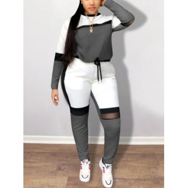 LW BASICS Plus Size Color-lump Tracksuit Pants Set