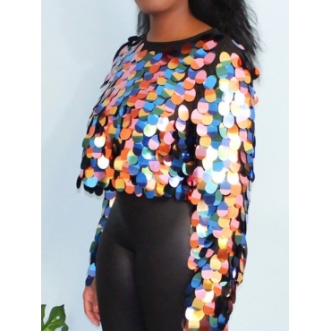 Lovely Street O Neck Sequined Multicolor Blouse