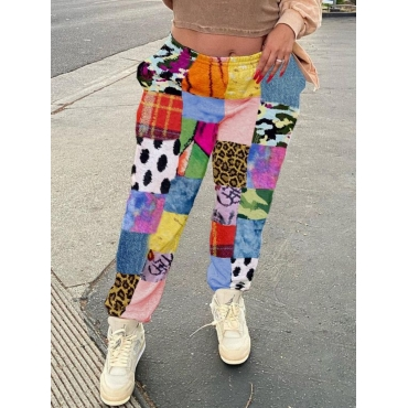 Lovely Casual Elastic Waist Print Patchwork Multic
