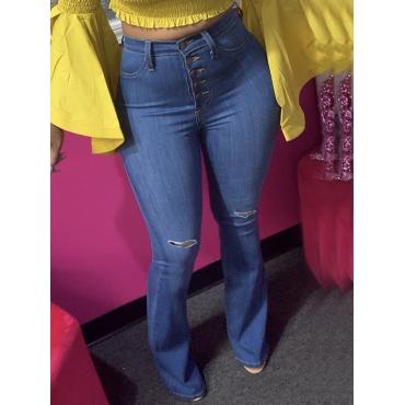 Lovely Street Broken Holes Flared Baby Blue Jeans