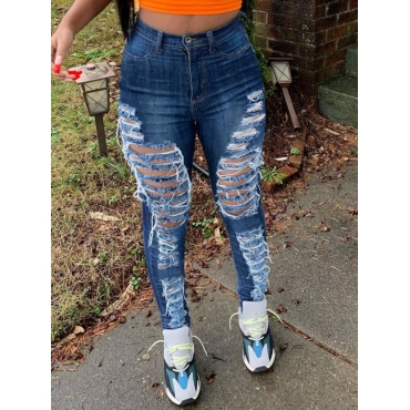 Lovely Casual High-waisted Broken Holes Blue Jeans