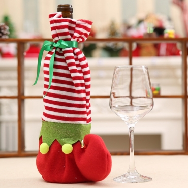 Lovely Striped Christmas Day Print Red Wine Bag