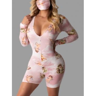 Lovely Sweet Floral Print Patchwork Pink Sleepwear