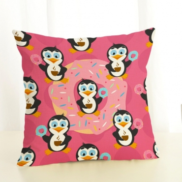 Lovely Cartoon Print Patchwork Pink Decorative Pil
