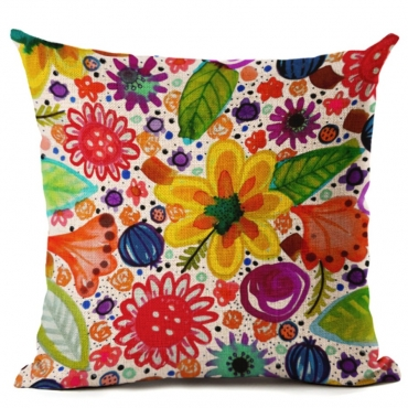 Lovely Floral Print Multicolor Decorative Pillow C