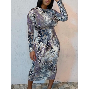 Lovely Casual Cobra Print Patchwork Mid Calf Dress