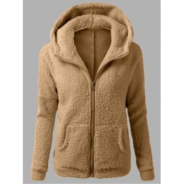 Lovely Casual Hooded Collar Kangaroo Pocket Khaki