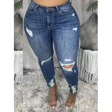 LW BASICS Plus Size High-waisted Ripped Jeans
