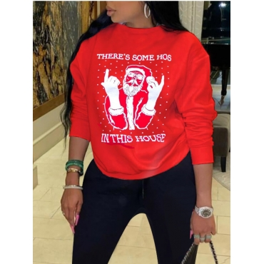 Lovely Party O Neck Letter Print Red Hoodie