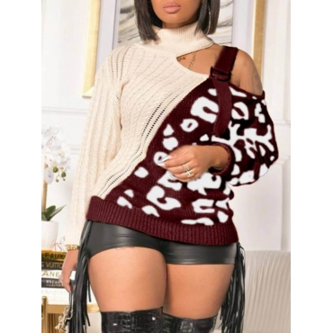 Lovely Stylish Patchwork Hollow-out Red Sweater
